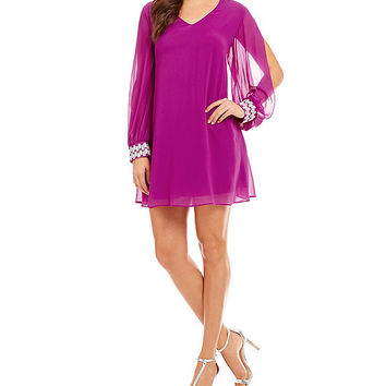 Jodi Kristopher Long-Sleeve Embellished-Cuff Shift Dress | Dillards