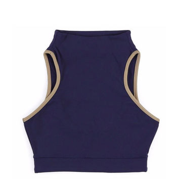 Year of Ours - Open Back Sports Bra - Navy / Tan