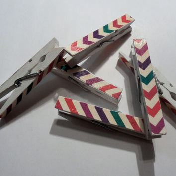Chevron White and Multi Colored Decorated Wooden Clothespins - set of 6