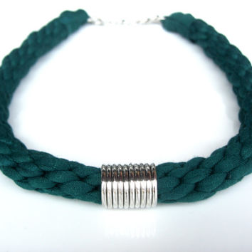 Emerald Nemertea and Silvered Washers. Tshirt yarn necklace