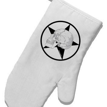 White Skull With Star White Printed Fabric Oven Mitt by TooLoud