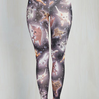 Quirky Skinny Kitty Constellations Leggings
