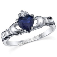 Nice 100% Brand New Size 5-10 Elegant Claddagh Lady's 10KT Gold Filled blue sapphire High quality Wedding crown Ring for women gift
