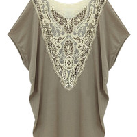 Gray Crochet Lace Back T-shirt