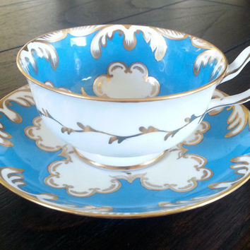 Antique Royal Chelsea English Bone China with gorgeous blue and gold pattern