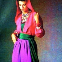 1980s Vogue 1721 HOODED BLOUSE TOP Mock Wrap SKiRT & Sash Pattern Vogue Paris Original Nina Ricci Womens Sewing Patterns Size 12 Bust 34