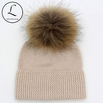 5 Years-15 Years Wool Children Beanies Crochet Winter Hat For Girls Boys Kids Big Girls Winter Hats Knitted Wool With Fur Pompom