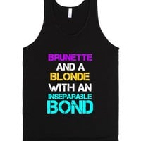 Blonde and Brunette-Unisex Black Tank