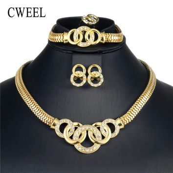 CWEEL Round Jewelry Sets For Women Wedding Dubai Bridal African Beads Jewelry Set Jewelery Costume Nigerian Cheap Jewellery