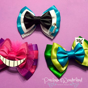 Alice, Cheshire Cat, and Mad Hatter Inspired Hair Bow Trio