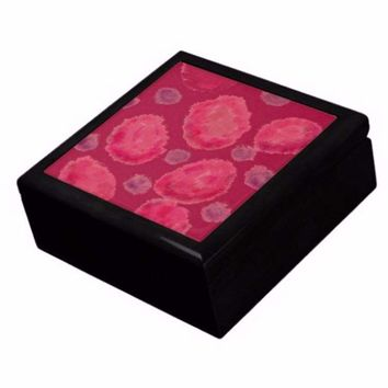 Keepsake/Jewelry Box - Dark Sherbert  Ceramic Tile Lid