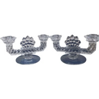 Fostoria Glass American Twin Candlestick Pair