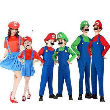 DCCKH6B Super Mario Luigi Brothers Cosplay Costume Fancy Dress Up Party Cute Costume For Adult Children Kids Free Shipping 10 Size