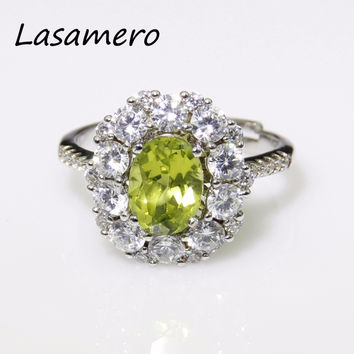 LASAMERO 925 Sterling Silver 8*6mm Natural Peridot Solitaire Rings For Women Love Gift Classic Oval Fine Jewelry Wedding Rings