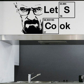 Let's Cook Periodic Table Elements Wall Decals Vinyl Stickers Breaking Bad Vinyl Lettering Quotes Wall Art Home Decor for Kitchen Q083