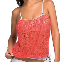 Orange Lace Overly Spaghetti Strap Bandeau 2pcs Tankini Swimsuit