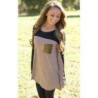 Brown Contrast Long Sleeve Leopard Print Pocket Sweatshirt