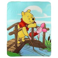 "Winnie The Pooh & Piglet Large Lightweight 50""x60"" Fleece Throw Blanket Disney"