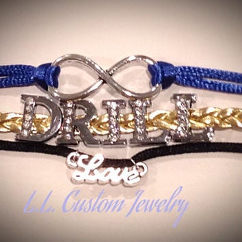 3 Strand - Infinity w/ DRILL Rhinestone & LOVE Charm on Cord- Customize w/ a different Charm or Wording- Choose from the Picture of Charms