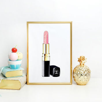 PINK LIPSTIC Makeup Art Makeup Print Lipstick Print Chanel Print Makeup Painting Glam Room Chanel Print Fashion Fashion illustration