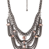 FOREVER 21 Tiered Rhinestone Bib Necklace Gunmetal/Peach One