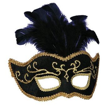 Venetian Feathers Mask - Black