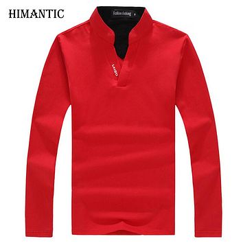 Polo Men Shirt Men Long Sleeve Solid Shirts Casual cotton New Tops Tees