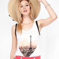 Paris Print Heart Studded Tank Top - Diva Hot Couture
