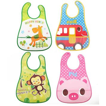 Cartoon Baby Bibs Eva Waterproof Newborn Stereoscopic Pinafore Over clothes Baby Bib Feeding Kids Towel Print Apron Scarf