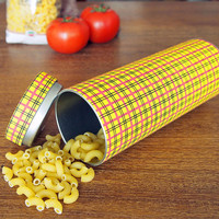 "Yellow pasta canister, kitchen canister with Japanese stencil pattern ""Hinode"""