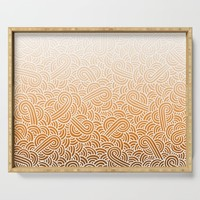 Faded orange and white swirls doodles Serving Tray by savousepate