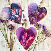 Heart ornament Valentine decoration Wedding favors wall handing Red Indian Native american love Wooden heart Valentines day gift Set of 3
