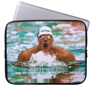 Swimmer Athlete In Pool With Water Drops Painting Laptop Sleeves