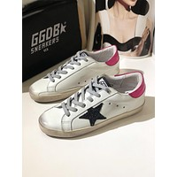 GOLDEN GOOSE GGDB SSTAR Superstar Pink Navy Blue Leather Sneakers Shoes
