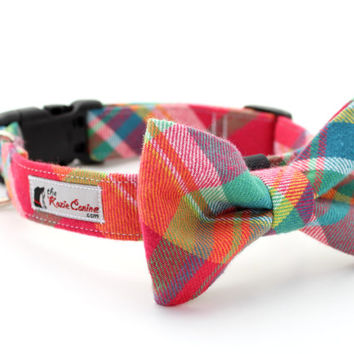 Colorful Flannel Plaid Dog Collar - Purple, Aqua, Pink & Yellow (Matching  Dog Bow Tie Available Separately)