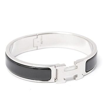 HERMES 700151FP Clic Clac PM Bracelet Bangle Black Enamel Ladies Excellent #2039