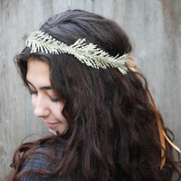 Soft Gold Leaf Crown - Feather Fern Headpiece, New Years Eve Accessory, Winter Fashion, Holiday Party Accessory, Glitter Gold Crown, Circlet