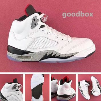 Nike Air Jordan Retro 5s white cement basketball shoes With Box