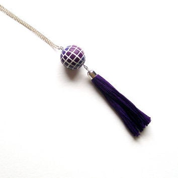 Tasseled pendant necklace ombre Purple Spring large mosaic bead plum purple tassel color progression lilac polymer clay