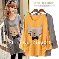 Korean  Printing Long Sleeves Loose Casual Cute Big Cat Cartoon Pullover T-shirts    Outwear Clothes