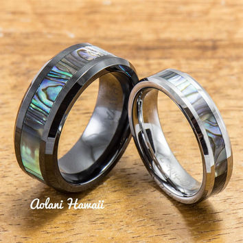 Black Ceramic and Tungsten Pair Rings (5mm & 8mm width)