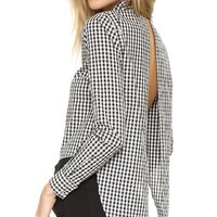 Long Sleeve Open Back Button Up