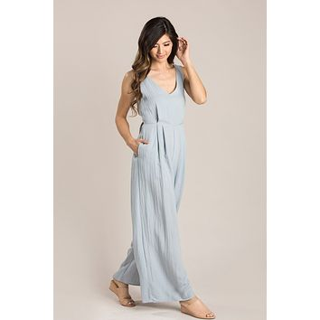 Abigail Chambray Tie Back Jumpsuit