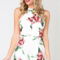Crossbow Playsuit in White Floral