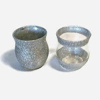 Set of 2 Votive Holders, Silver Glitter Votive Holders, Wedding Votive Holders