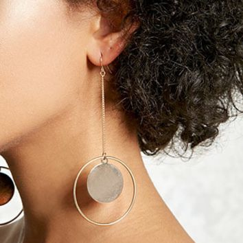 Drop-Chain Hoop Earrings