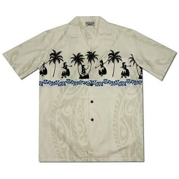 Hula Dance White Hawaiian Border Aloha Sport Shirt