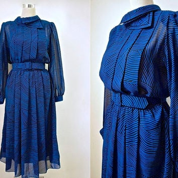 Vintage Parigi Dress - Electric Blue And Black Stripe Chiffon Dress - Cocktail Dress - Secretary Dress - After Hours Dress