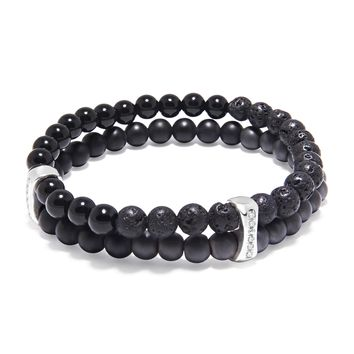 Men's Double Bead Wristband with Matte Onyx, Agate and Lava Stone