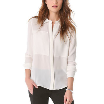 White Chiffon Long Sleeve Shirt Collar Blouse